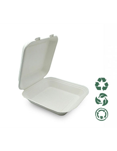 Envase - Compostable - Bagazo - 218x207x40 mm - Tira 50 u.
